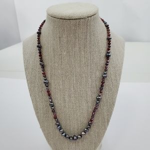 Faux Pearl Gray Necklace Beaded Red Small 18 inch